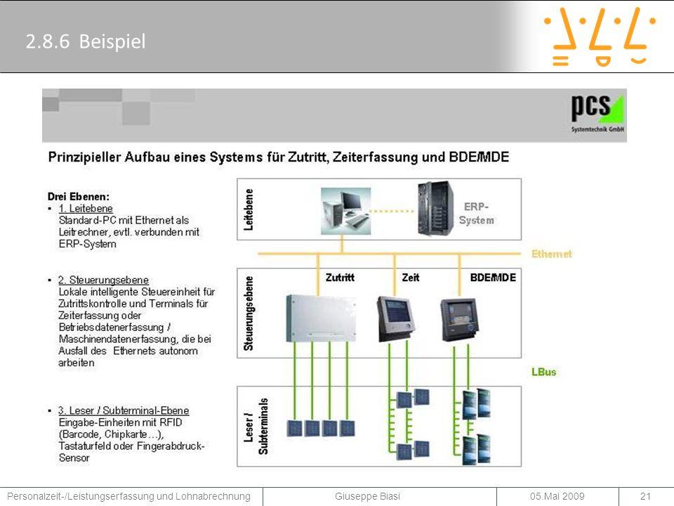 2.8.6 Beispiel Ein Beispiel für ein System für Zutritt, Zeiterfassung und BDE/MDE der Firma PCS.