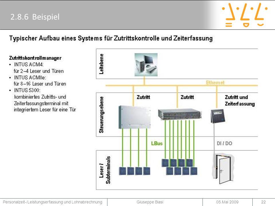 2.8.6 Beispiel Ein Beispiel für einen typischen Aufbau eines Systems für Zutrittskontrolle und Zeiterfassung der Firma PCS.