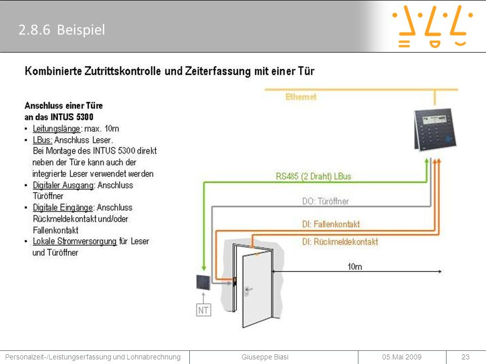 2.8.6 Beispiel Ein Beispiel für kombinierte Zutrittskontrolle mit einer Tür der Firma PCS.