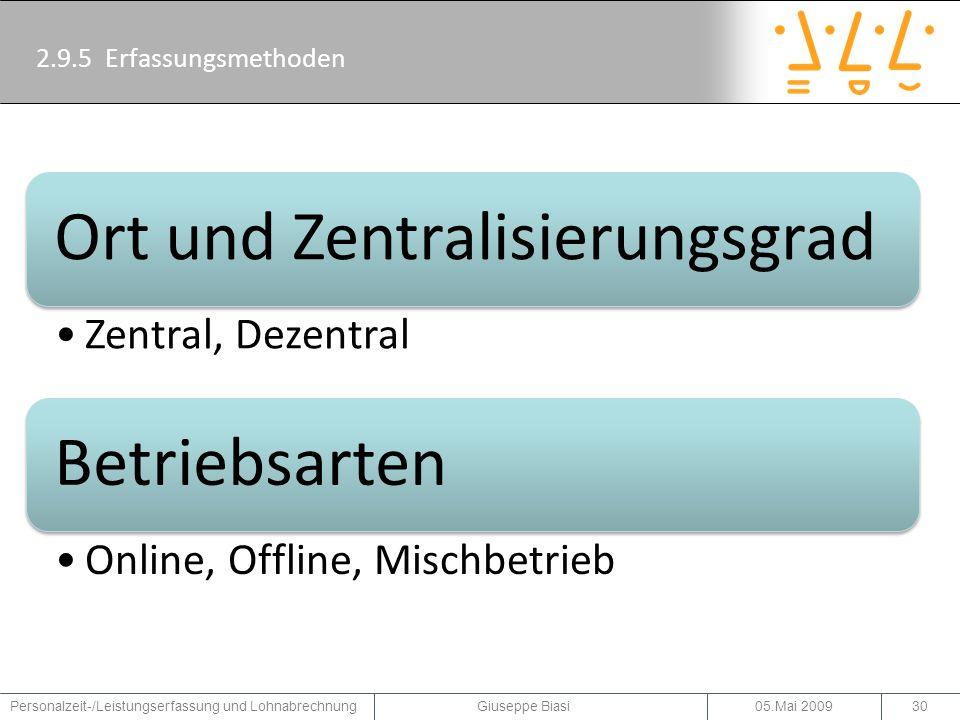 Ort und Zentralisierungsgrad