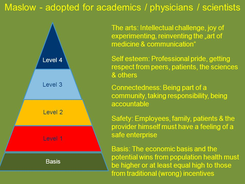 Maslow - adopted for academics / physicians / scientists