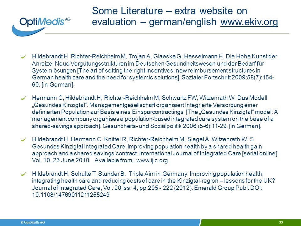 Some Literature – extra website on evaluation – german/english www