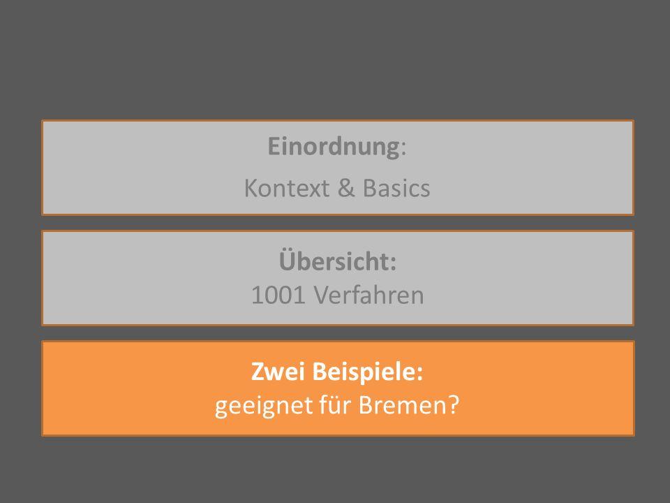 Einordnung: Kontext & Basics Übersicht: 1001 Verfahren Zwei Beispiele: geeignet für Bremen