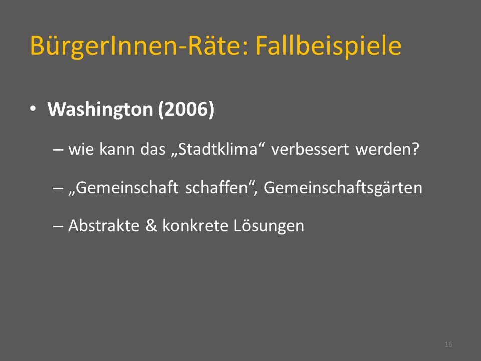 BürgerInnen-Räte: Fallbeispiele