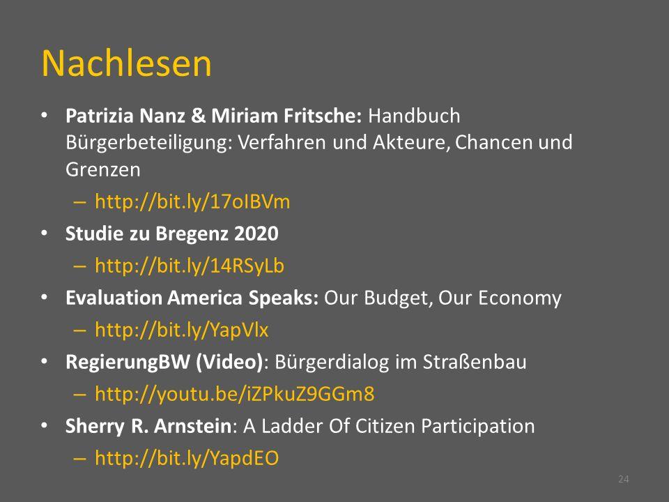 Nachlesen Patrizia Nanz & Miriam Fritsche: Handbuch Bürgerbeteiligung: Verfahren und Akteure, Chancen und Grenzen.