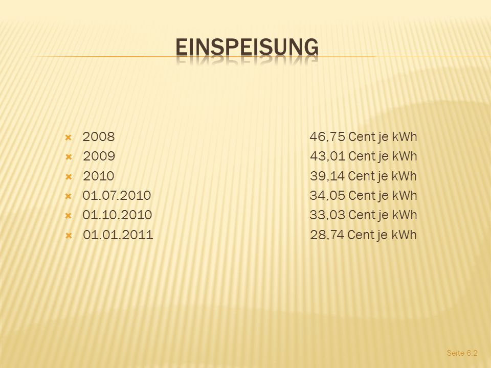 Einspeisung 2008 46,75 Cent je kWh 2009 43,01 Cent je kWh