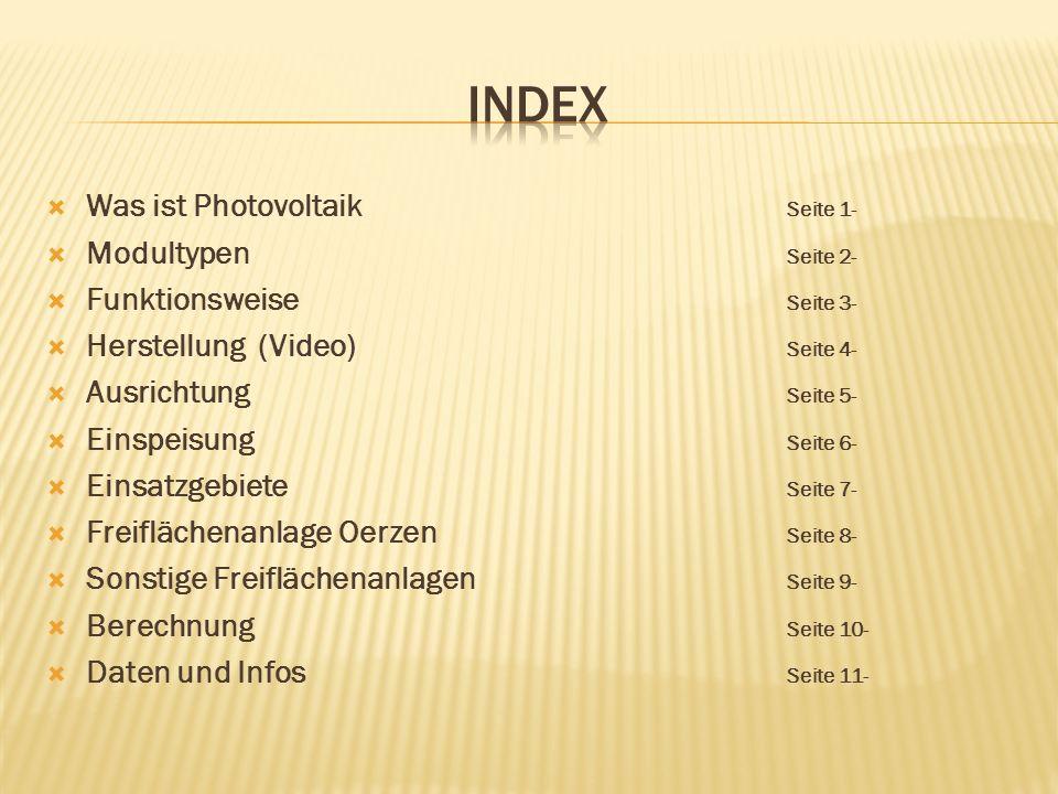 Index Was ist Photovoltaik Seite 1- Modultypen Seite 2-