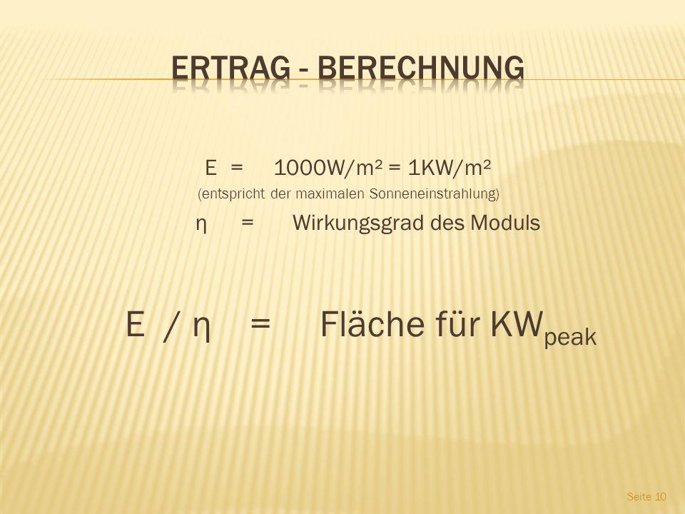 Ertrag - Berechnung E = 1000W/m² = 1KW/m² η = Wirkungsgrad des Moduls