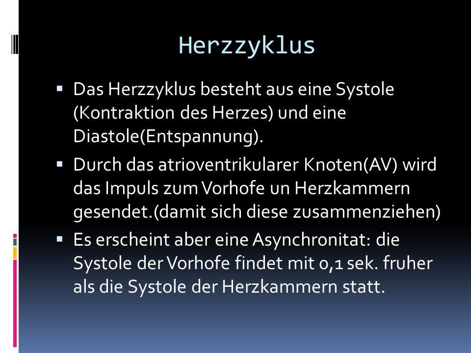 Herzzyklus Das Herzzyklus besteht aus eine Systole (Kontraktion des Herzes) und eine Diastole(Entspannung).