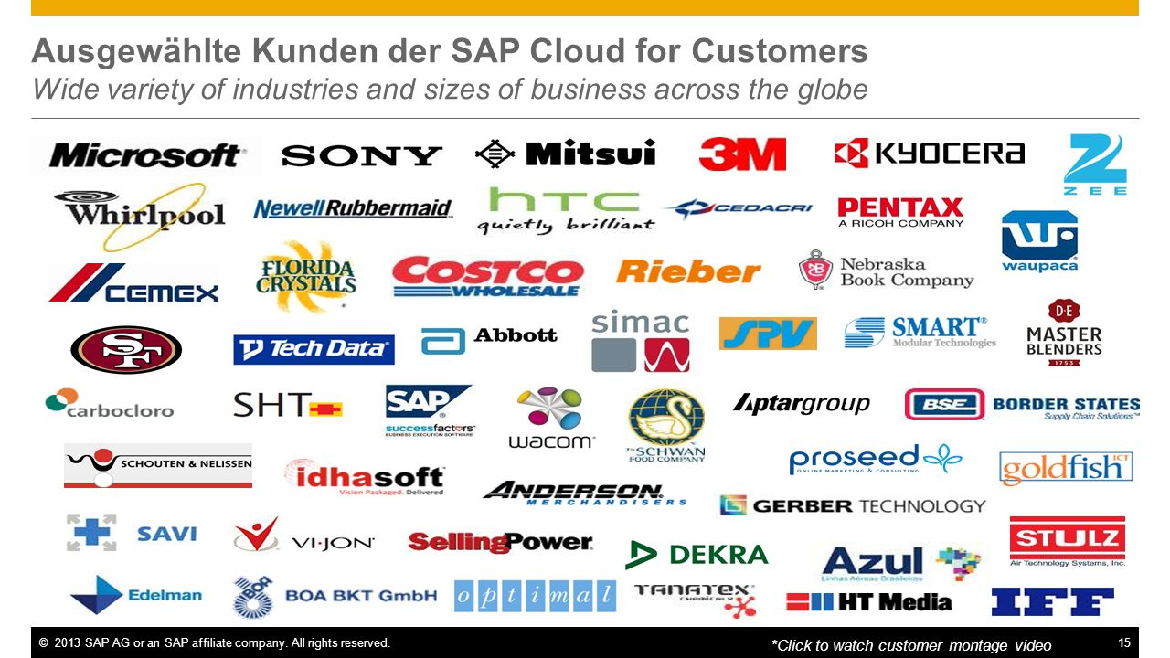 Ausgewählte Kunden der SAP Cloud for Customers Wide variety of industries and sizes of business across the globe