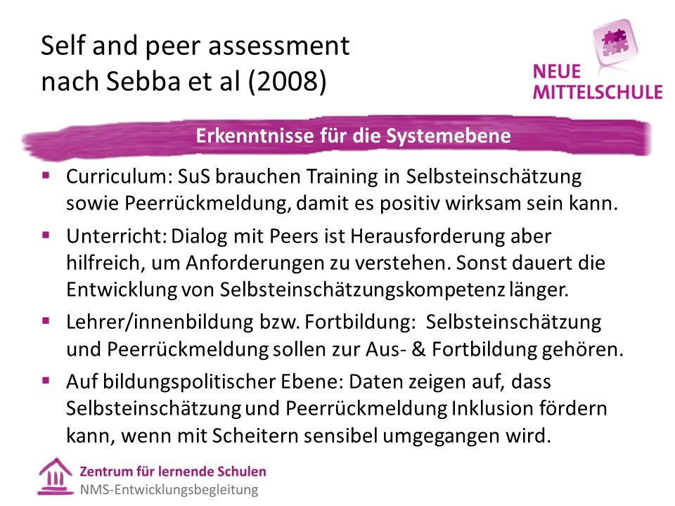 Self and peer assessment nach Sebba et al (2008)