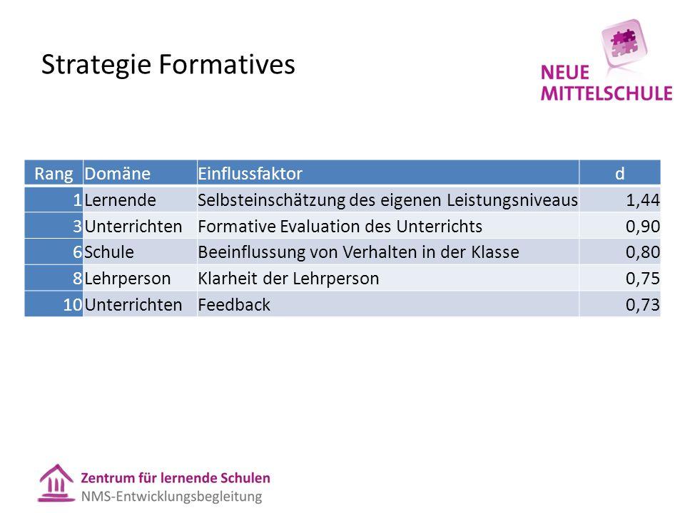 Strategie Formatives Rang Domäne Einflussfaktor d 1 Lernende