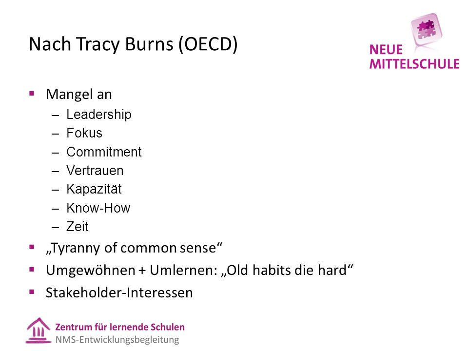 Nach Tracy Burns (OECD)