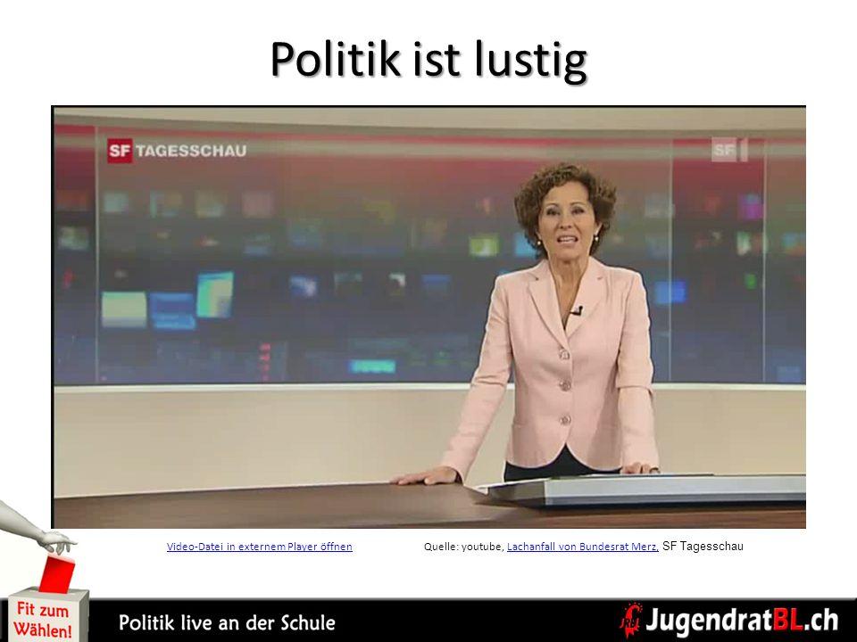 Politik ist lustig Video-Datei in externem Player öffnen Quelle: youtube, Lachanfall von Bundesrat Merz, SF Tagesschau.
