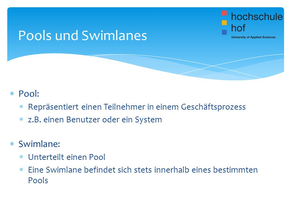 Pools und Swimlanes Pool: Swimlane: