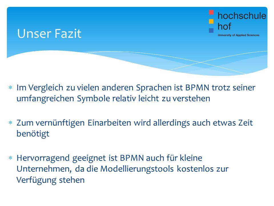 Unser Fazit Im Vergleich zu vielen anderen Sprachen ist BPMN trotz seiner umfangreichen Symbole relativ leicht zu verstehen.