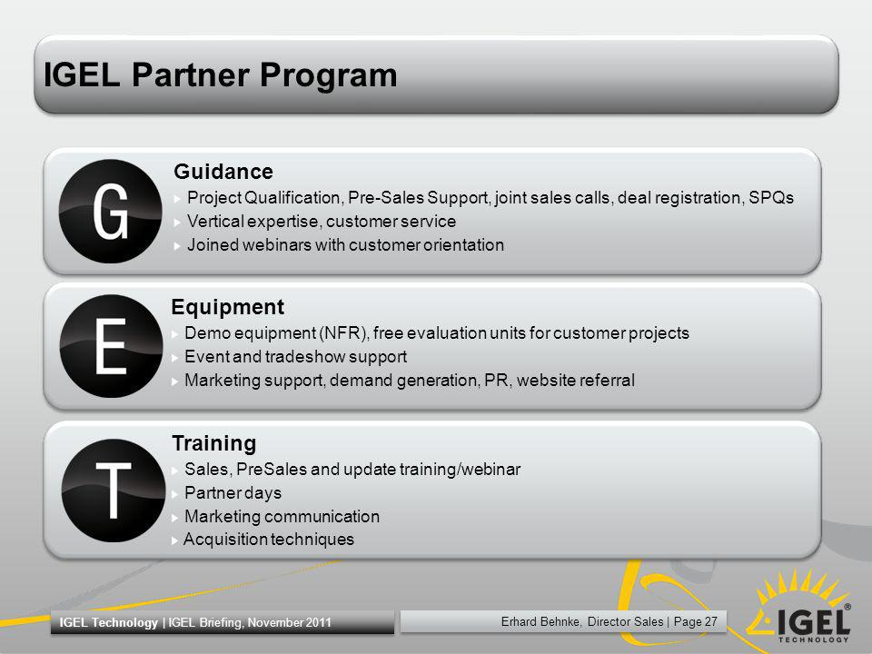 IGEL Partner Program Guidance Equipment Training