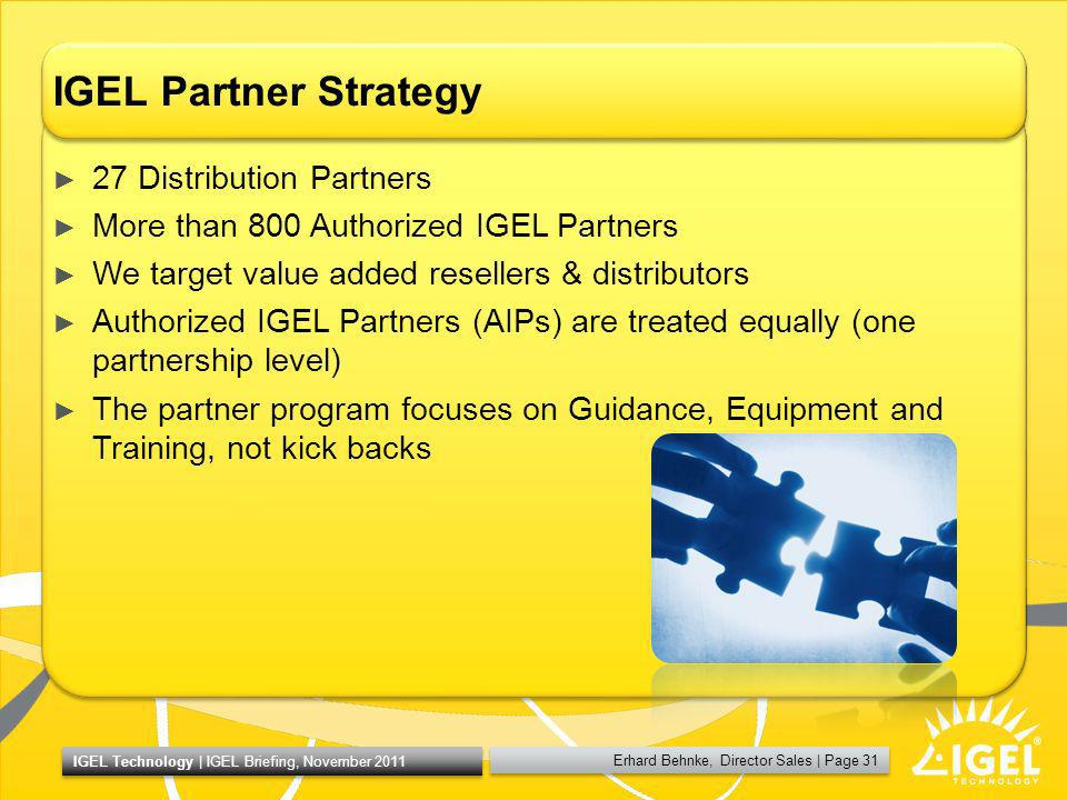 IGEL Partner Strategy 27 Distribution Partners