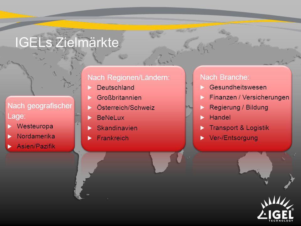 IGELs Zielmärkte Nach Regionen/Ländern: Nach Branche:
