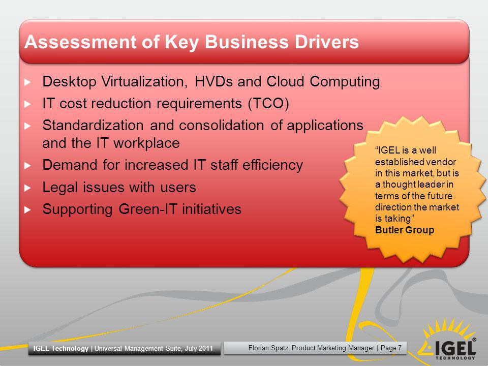 Assessment of Key Business Drivers