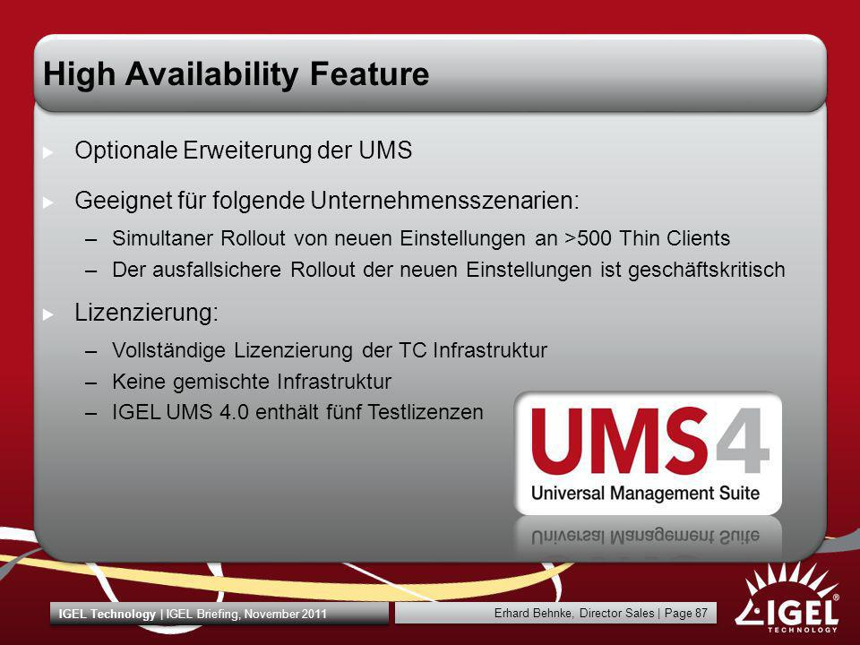 High Availability Feature