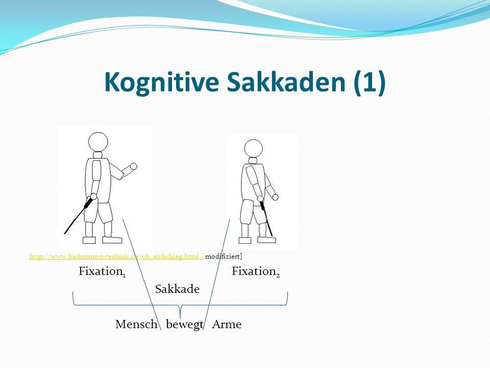 Kognitive Sakkaden (1) Fixation1 Fixation2 Sakkade Mensch bewegt Arme