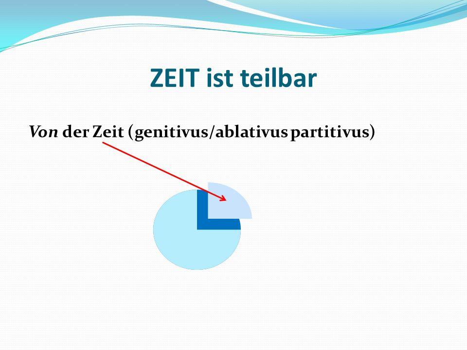 ZEIT ist teilbar Von der Zeit (genitivus/ablativus partitivus)