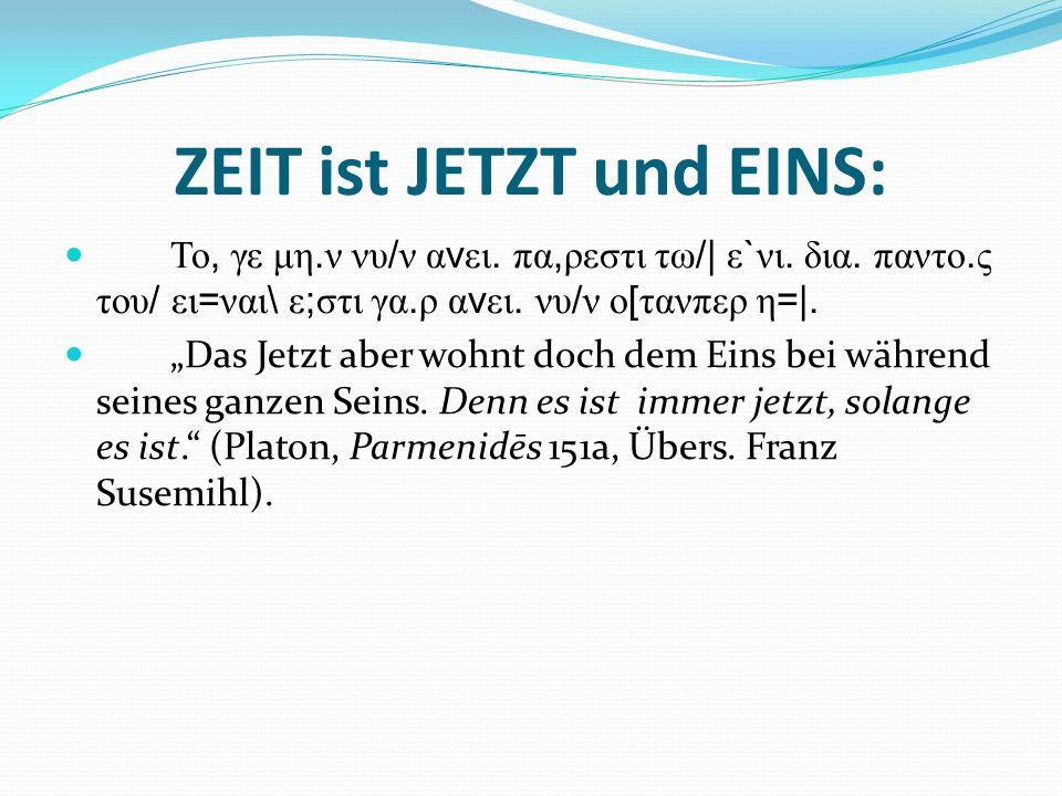 ZEIT ist JETZT und EINS: