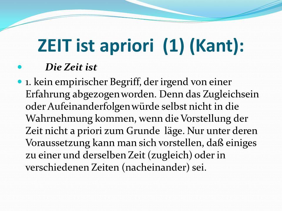 ZEIT ist apriori (1) (Kant):