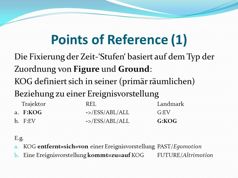 Points of Reference (1)Die Fixierung der Zeit-'Stufen' basiert auf dem Typ der. Zuordnung von Figure und Ground: