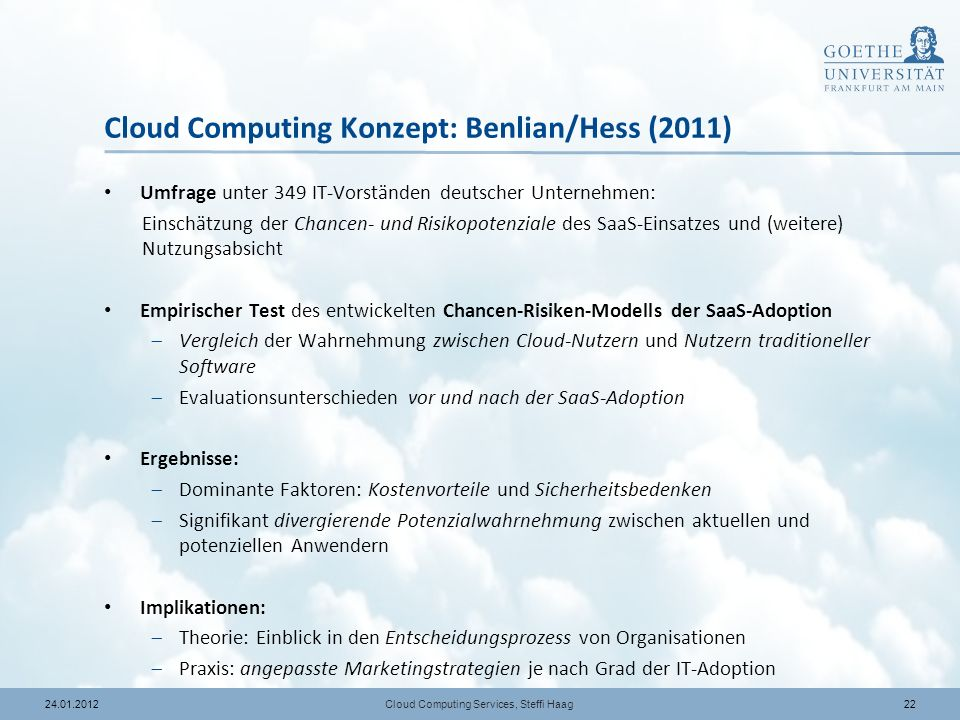 Cloud Computing Konzept: Benlian/Hess (2011)