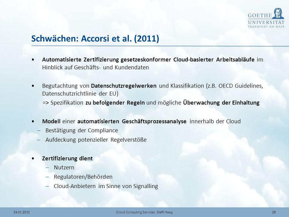 Schwächen: Accorsi et al. (2011)