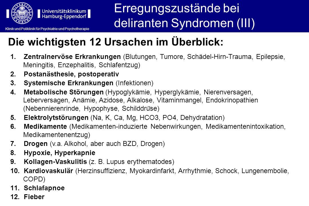 Erregungszustände bei deliranten Syndromen (III)