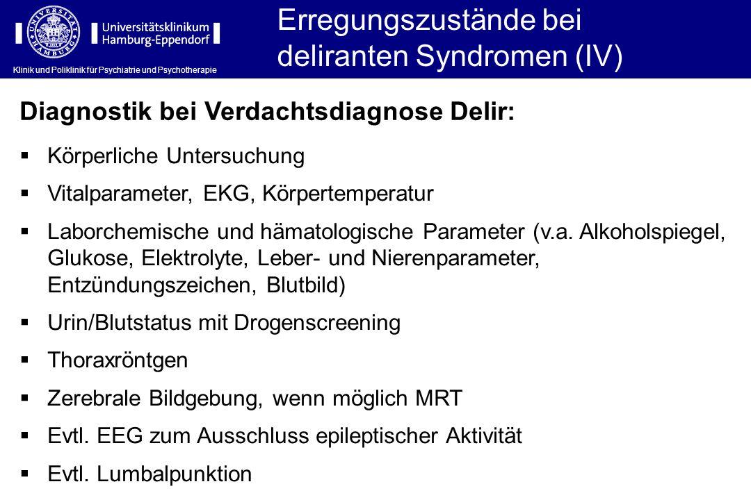 Erregungszustände bei deliranten Syndromen (IV)