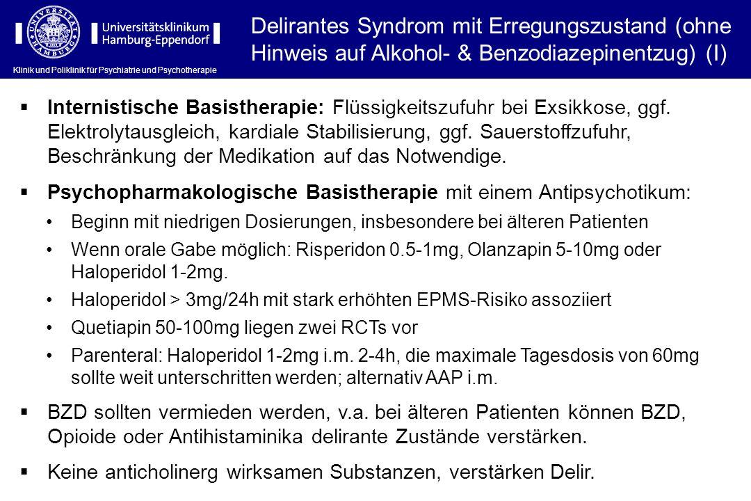 Delirantes Syndrom mit Erregungszustand (ohne Hinweis auf Alkohol- & Benzodiazepinentzug) (I)