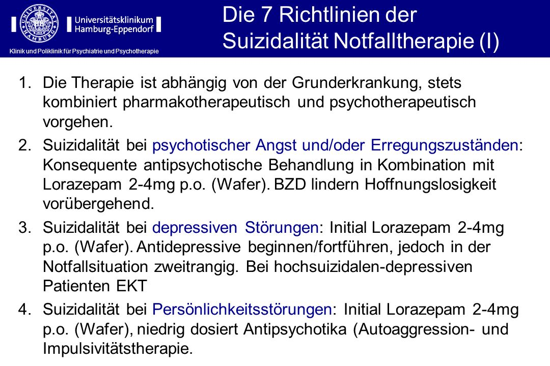 Suizidalität Notfalltherapie (I)