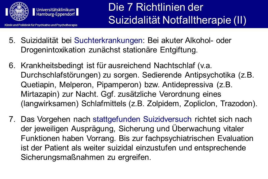 Suizidalität Notfalltherapie (II)