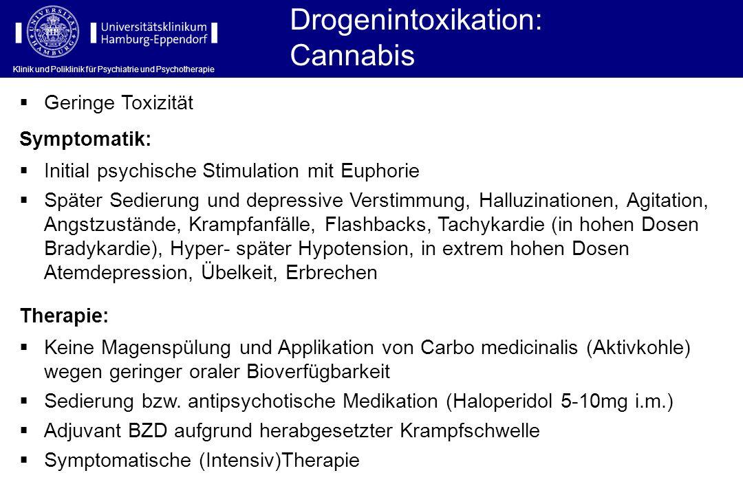 Drogenintoxikation: Cannabis Geringe Toxizität Symptomatik: