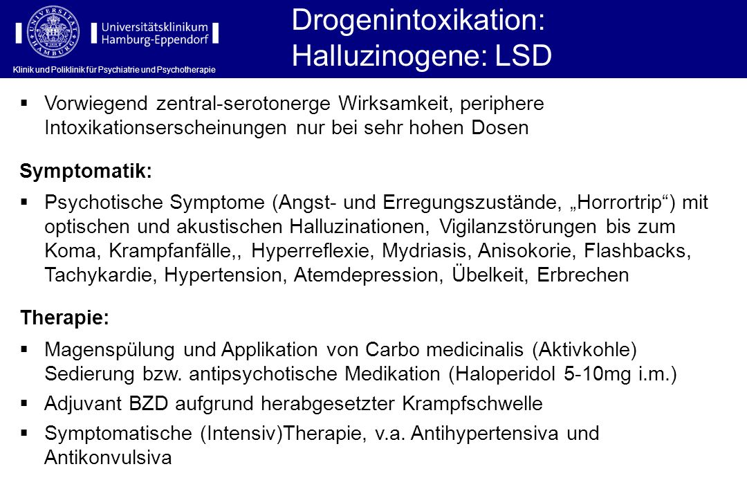 Drogenintoxikation: Halluzinogene: LSD