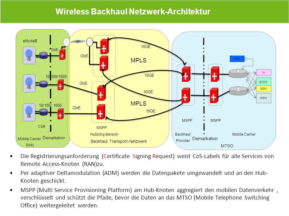 Wireless Backhaul Netzwerk-Architektur