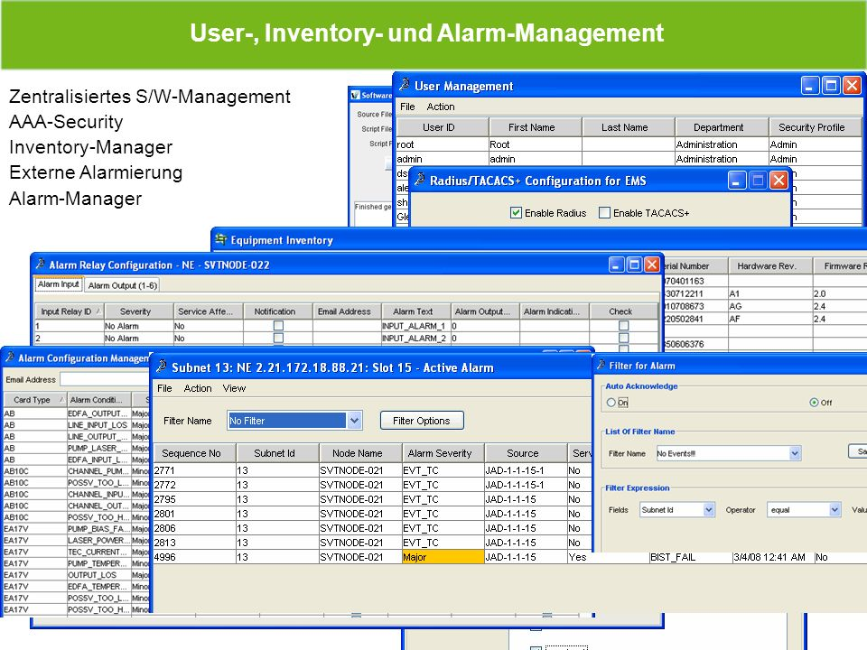User-, Inventory- und Alarm-Management