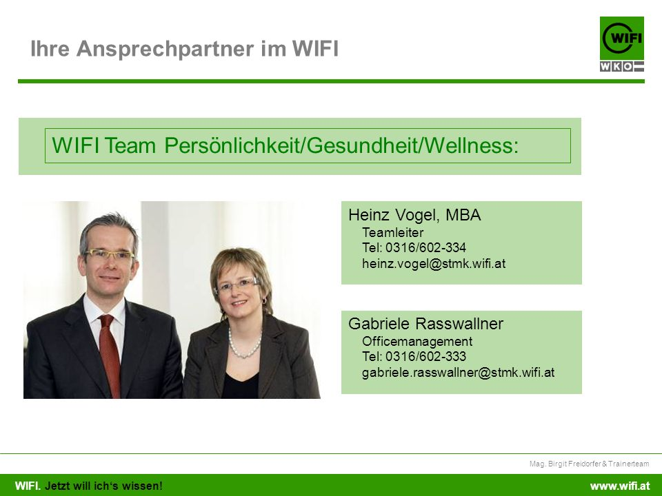 Ihre Ansprechpartner im WIFI