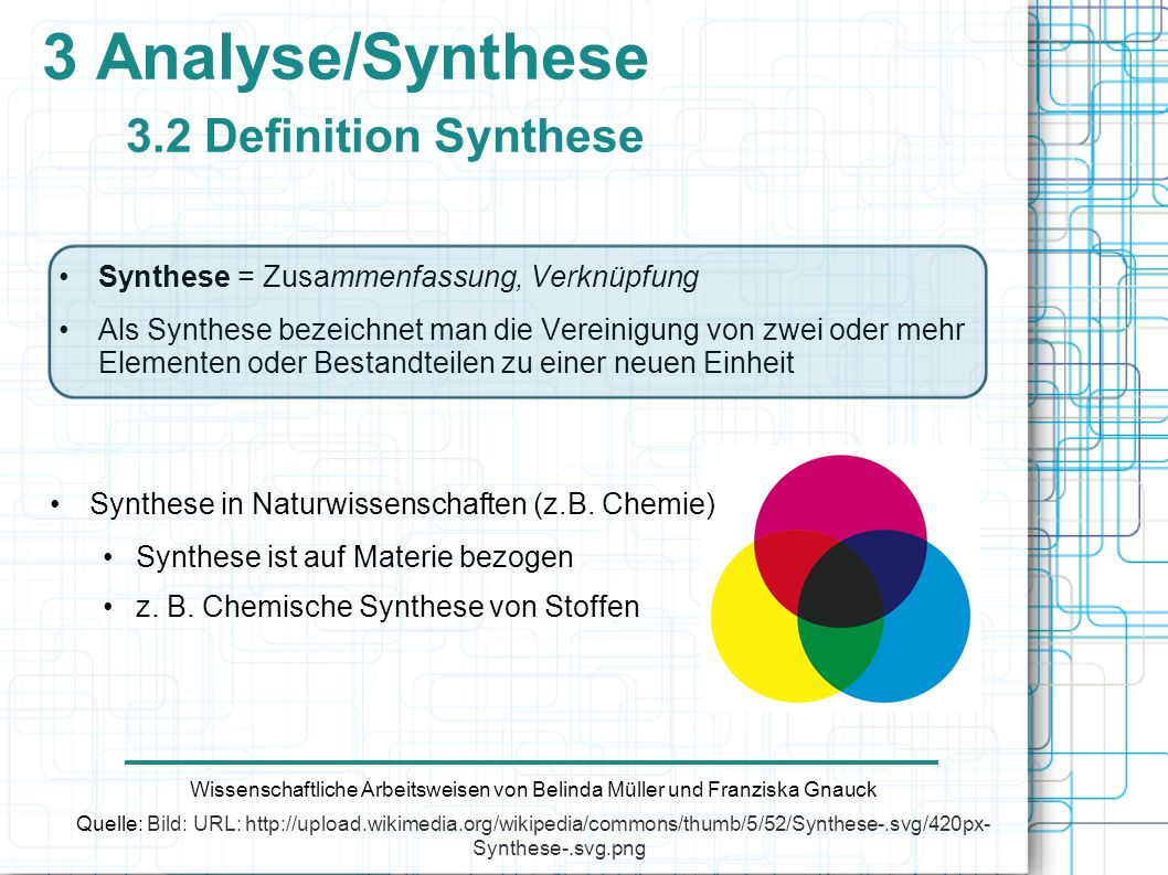 3 Analyse/Synthese 3.2 Definition Synthese