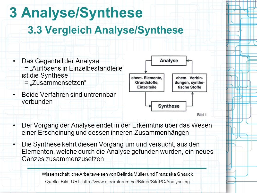 3 Analyse/Synthese 3.3 Vergleich Analyse/Synthese