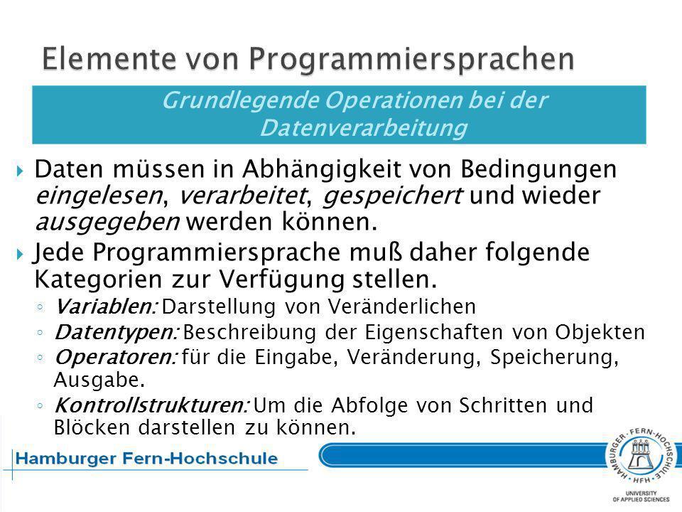 Elemente von Programmiersprachen