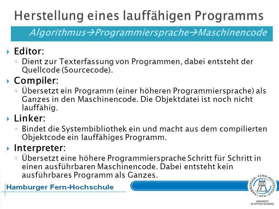 Herstellung eines lauffähigen Programms
