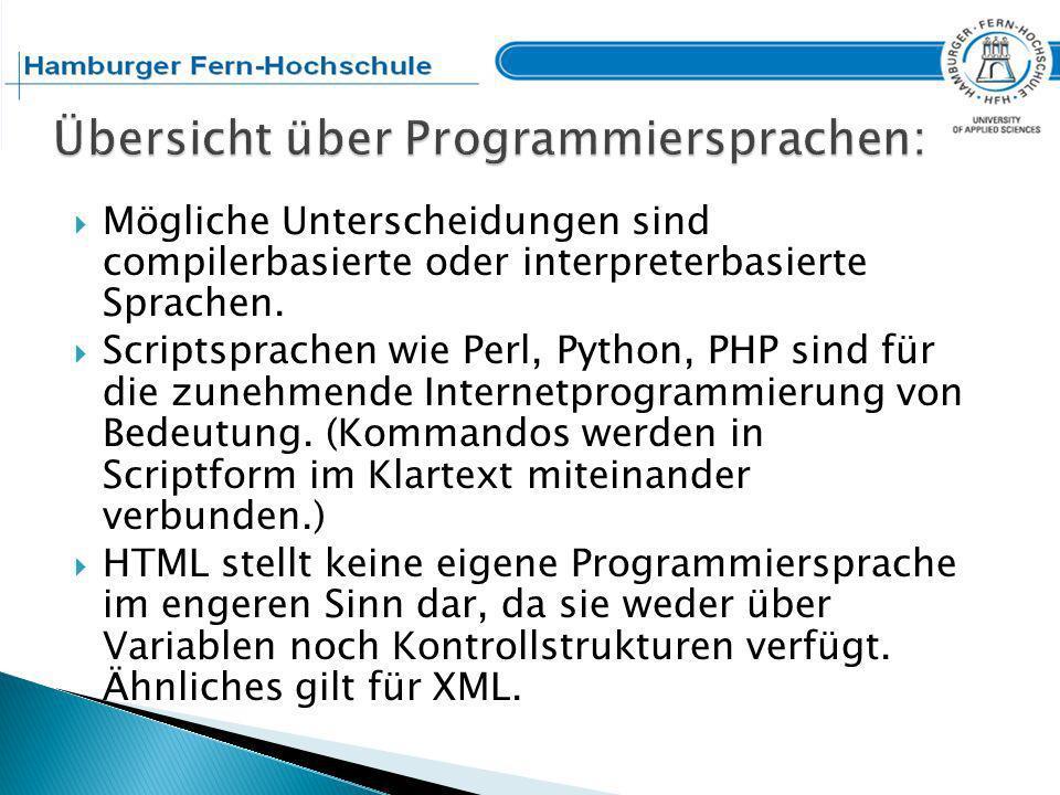 Übersicht über Programmiersprachen: