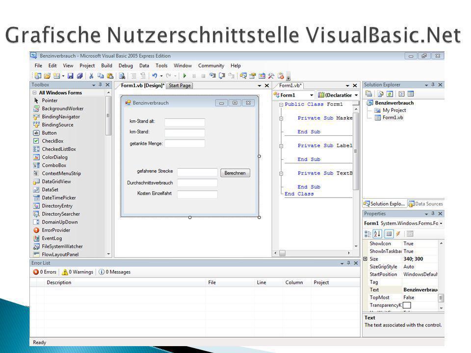 Grafische Nutzerschnittstelle VisualBasic.Net