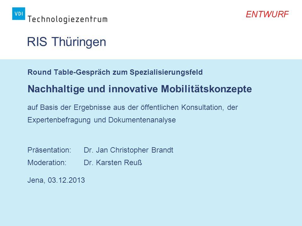 RIS Thüringen Nachhaltige und innovative Mobilitätskonzepte