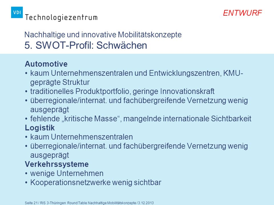 Nachhaltige und innovative Mobilitätskonzepte 5. SWOT-Profil: Schwächen